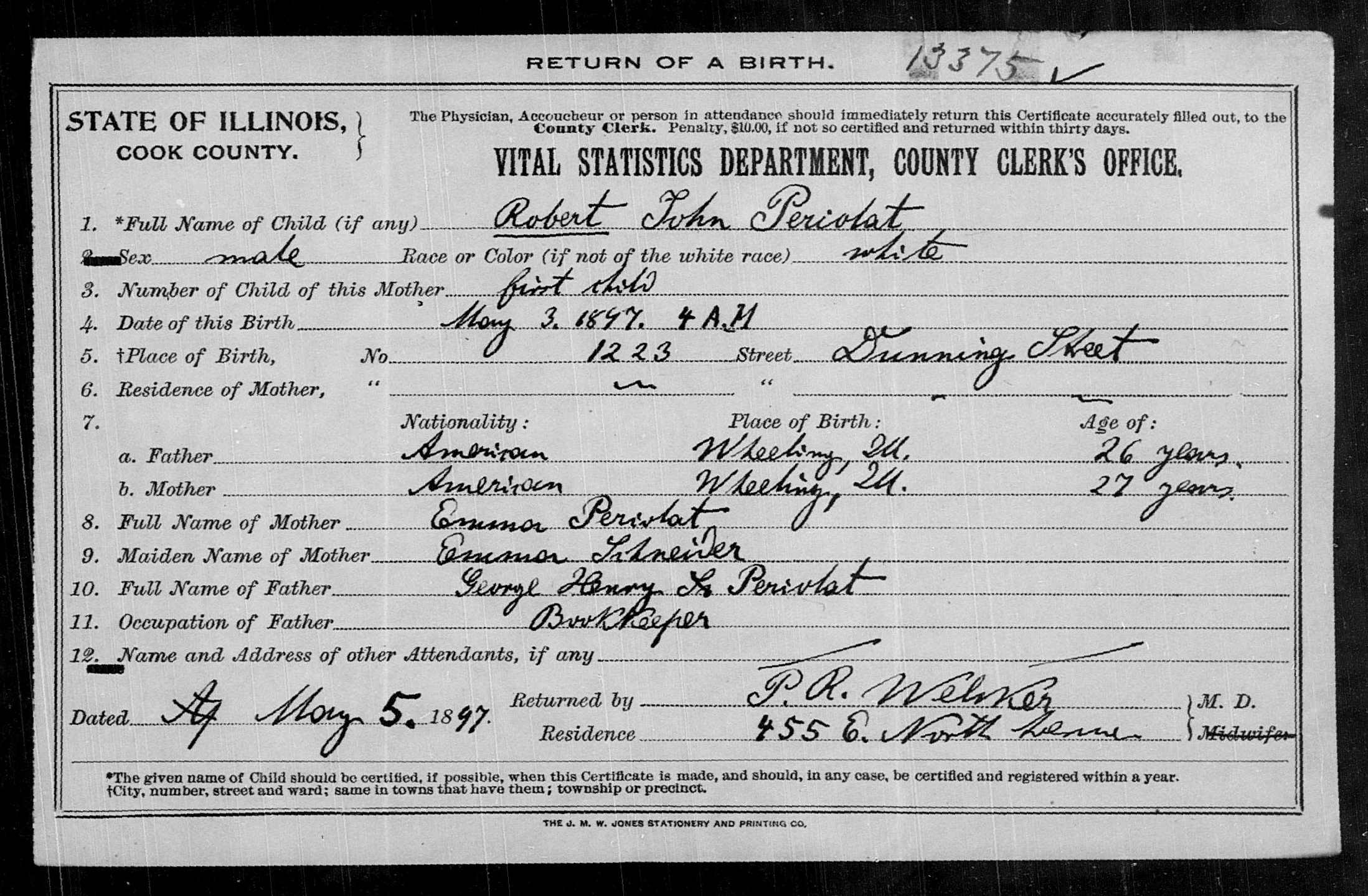 certificate birth illinois county cook john robert 1897 certificates 1922 1878 familysearch database record